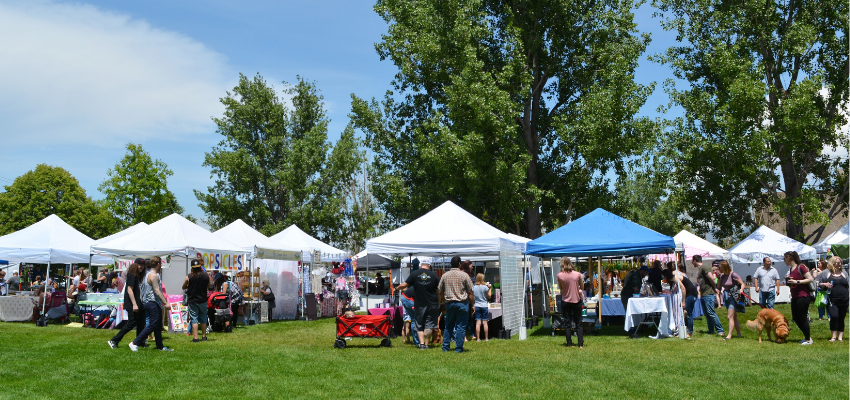 Sunday Market Booths and Visitors at Wheeler Farm