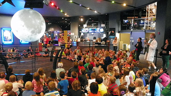 A class presentation with Clark Planetarium's Science on a Sphere.