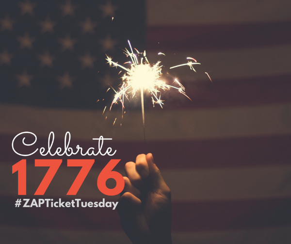 celebrate 1776 with zap ticket tuesday