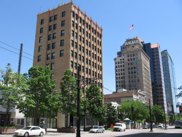 downtown salt lake city with the historic salt lake tribune building in the foreground