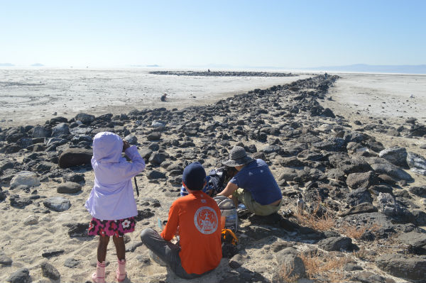 family over looking the spiral jetty