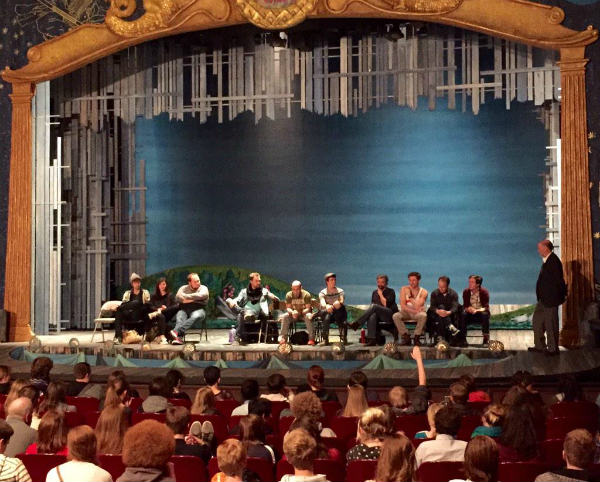students attend a talk-back following a matinee of peter and the starcatcher 2014